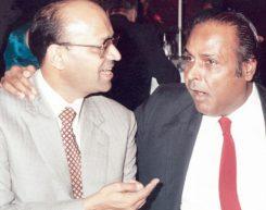 Mr. Dhirubhai Ambani and Mr. Kantikumar Podar at Dinner at Podar House, Bombay