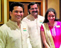 "Mr. Rajiv Podar and Ms. Vedica Podar with Mr. Sachin Tendulkar"""